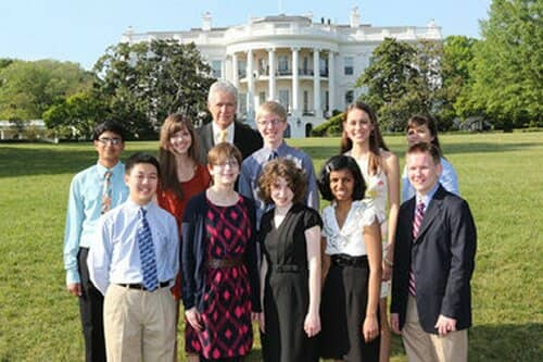 Alex Trebek and Teen Tournament players at White House